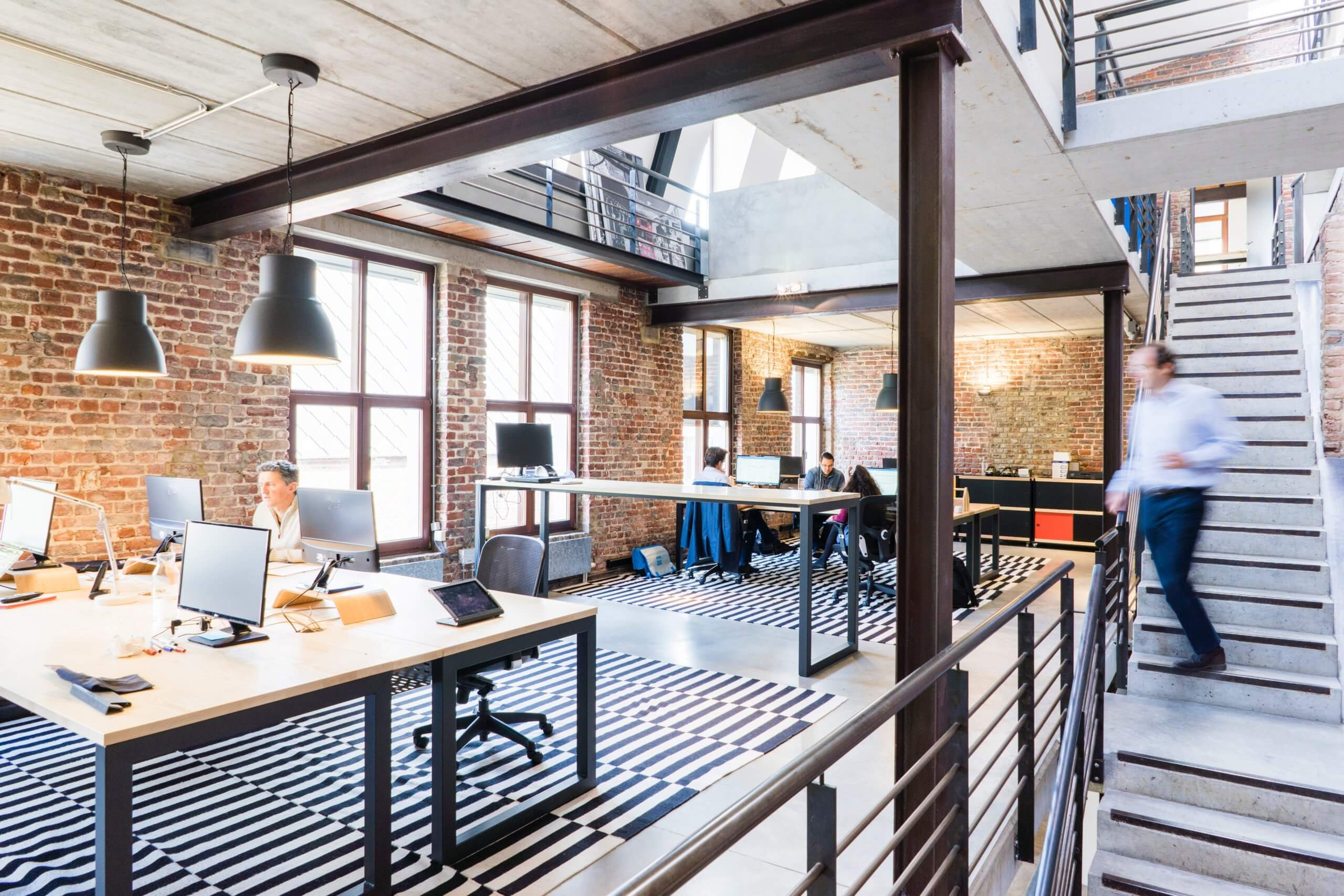 open office design with collaborative workspace