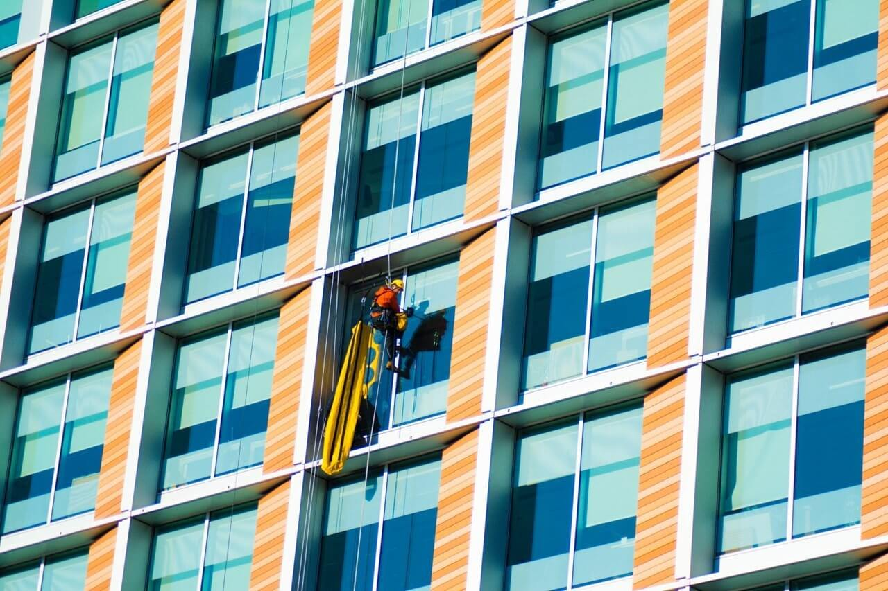 window washer on side of building