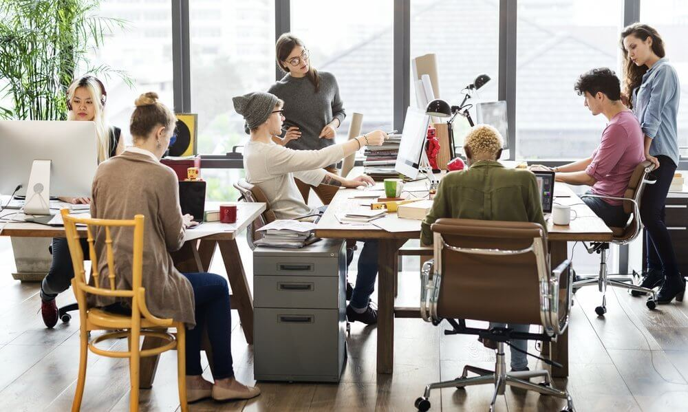 Modern fun office space with young professionals