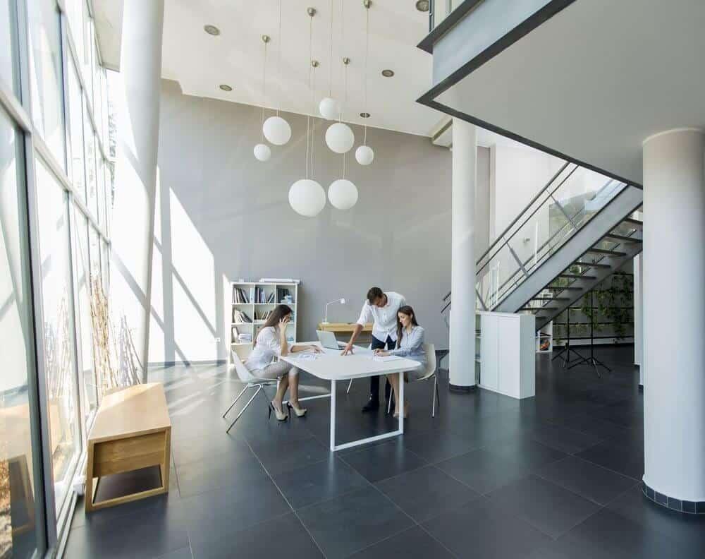 Modern open space office layout