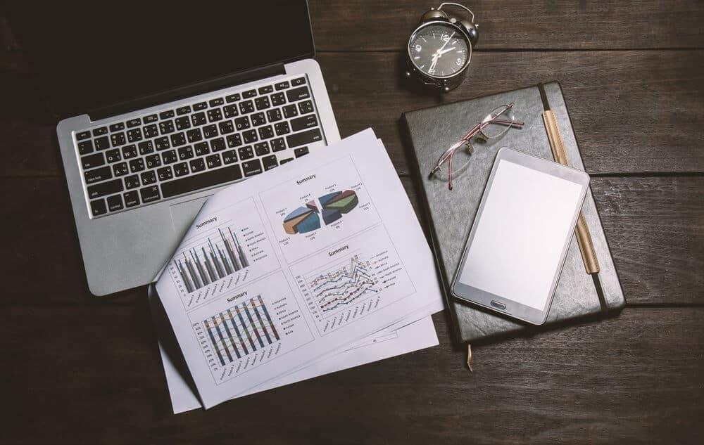 laptop and timesheet data